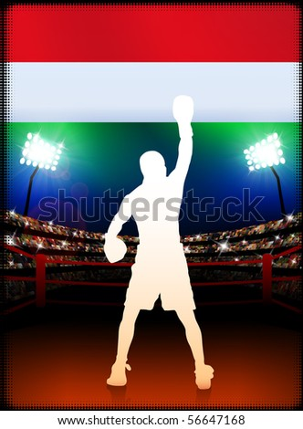 Hungary Boxing on Stadium Background Original Illustration - stock vector