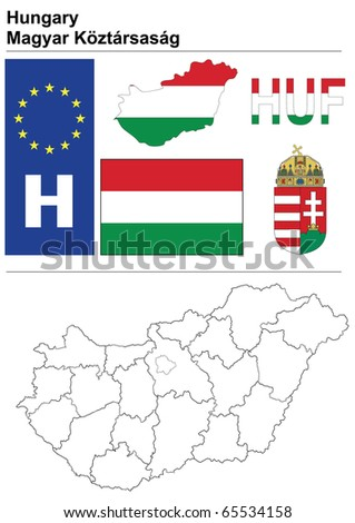 Hungary collection including flag, plate, map (administrative division), symbol, currency unit & coat of arms - stock vector