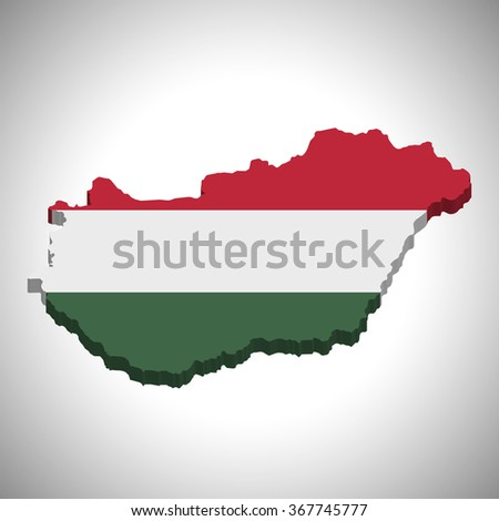 Hungary - 3D map and flag
