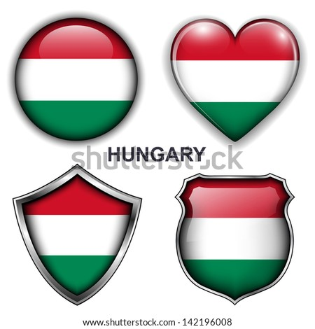 Hungary flag icons, vector buttons.