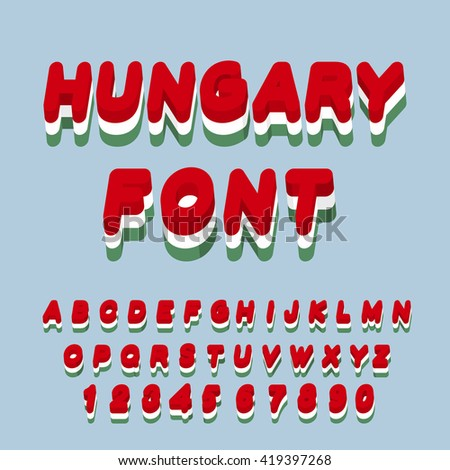 Hungary font. Hungarian flag on letters. National Patriotic alphabet. 3d letter. State color symbolism in Europe - stock vector