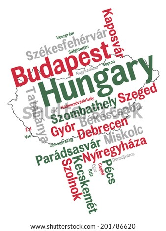 Hungary map and words cloud with larger cities - stock vector