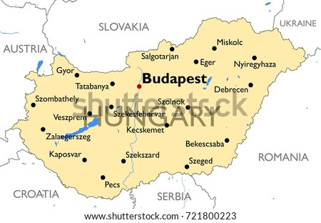 Hungary Map Vector Detailed Color Hungary Stock Vector - Hungary map