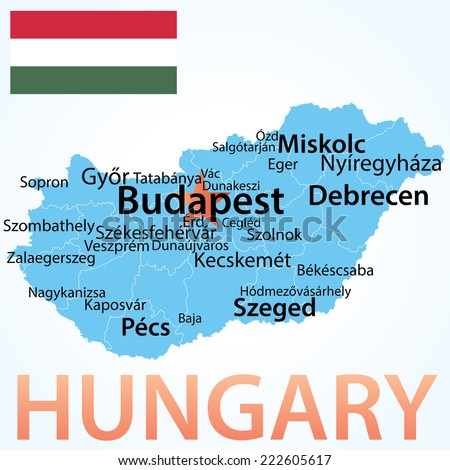 Hungary - map with largest cities, carefully scaled text by city population.