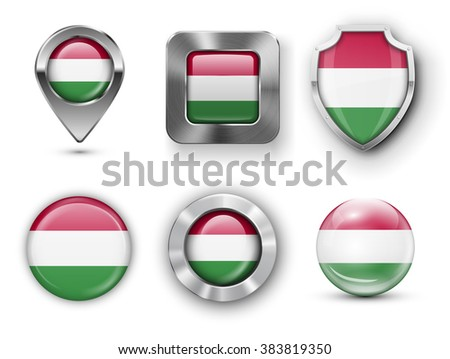 Hungary Metal and Glass Flag Badges, Buttons, Map marker pin and Shields. Vector illustrations