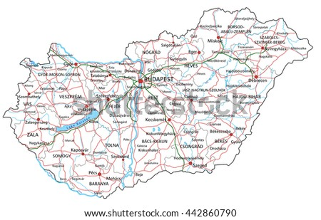 Hungary road and highway map. Vector illustration. - stock vector