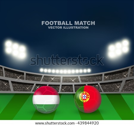 Hungary vs Portugal soccer ball in flag design on soccer stadium background for football tournament , this image for soccer match template or banner in vector format - stock vector