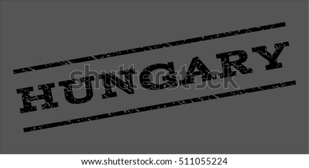 Hungary watermark stamp. Text caption between parallel lines with grunge design style. Rubber seal stamp with scratched texture. Vector black color ink imprint on a gray background.