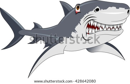 Hungry angry cartoon great white shark with big teeth isolated. Graphic illustration