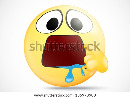 Hungry emoticon with indicate mouth - stock vector