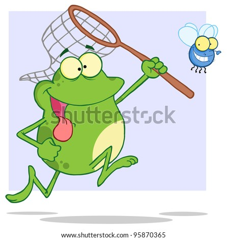 Hungry Frog Chasing Fly With A Net.Vector Illustration - stock vector