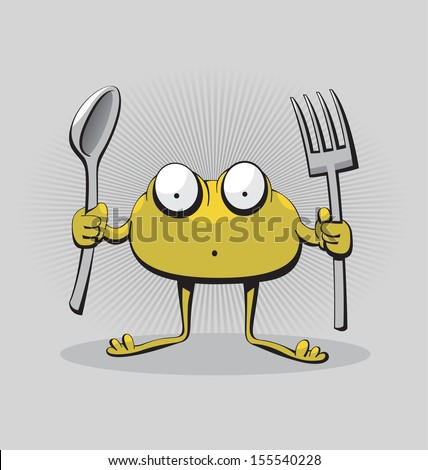 Hungry green monster creature with sad look and spoon and fork in his hands - stock vector
