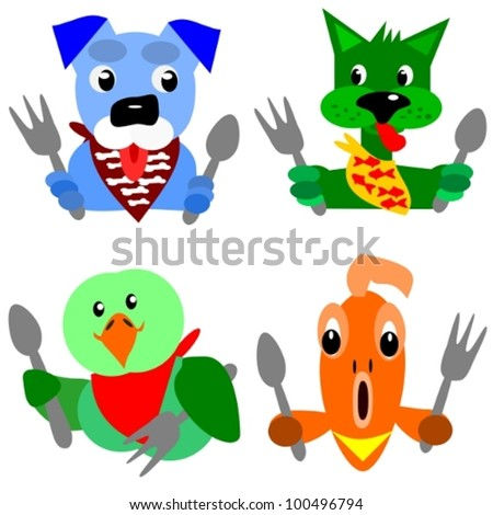 Hungry pets.  Cartoon illustration of a pet dog, a green cat, a parrot and a gold fish that are ready for their dinner. - stock vector