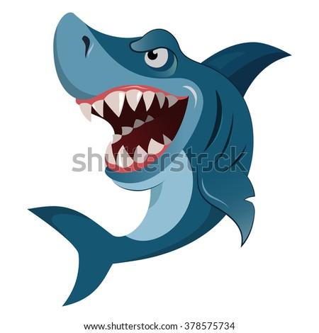 Hungry shark, angry shark, cartoon shark, shark great, white shark, shark wiith big teeth, shark isolated, shark image, shark fin, shark fish, shark attack. Vector illustration shark eps10  - stock vector
