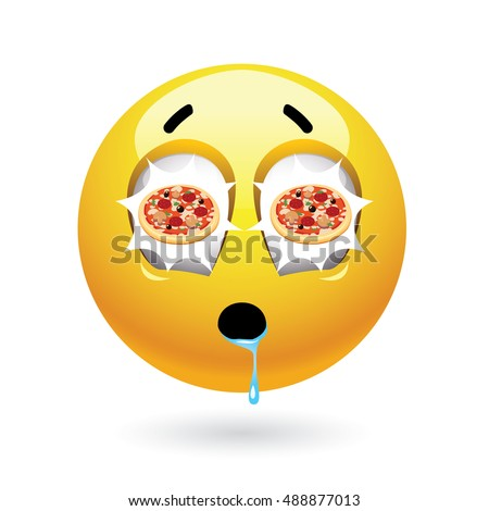 hungry smiley pizza reflecting eyes tasty stock vector 488877013 shutterstock. Black Bedroom Furniture Sets. Home Design Ideas