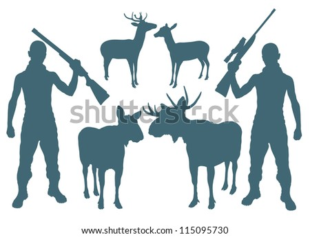 Hunter and deer vector background set - stock vector