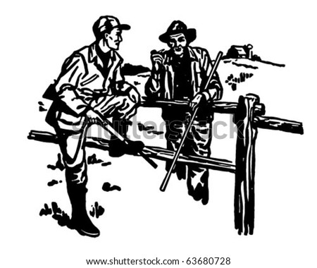 Hunter And Farmer Chatting - Retro Clipart Illustration