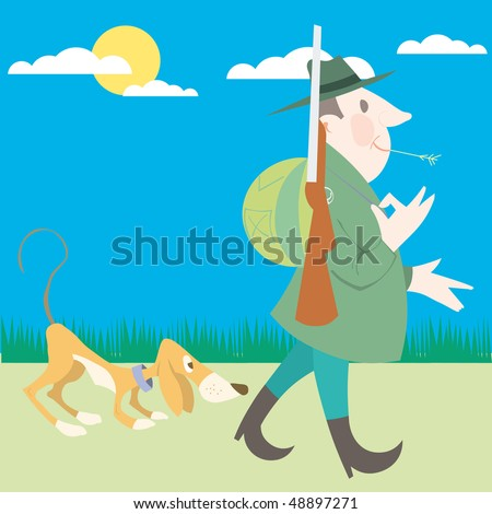Hunter and his dog hunting vector illustration cartoon - stock vector