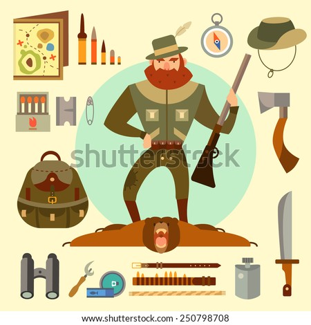 Hunter arsenal: beard, ax, gun, ammunition, binoculars, map. Bearskin trophy. Adventurer. Vector flat illustrations  - stock vector