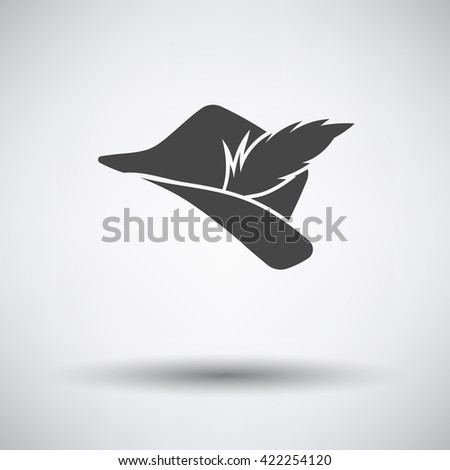 Hunter hat with feather  icon on gray background with round shadow. Vector illustration.
