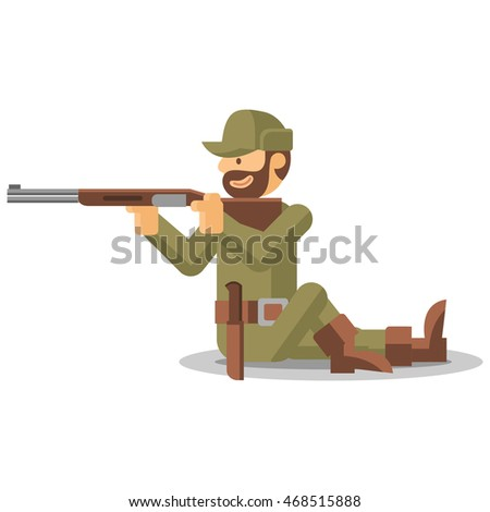 Hunter in camouflage green ammunition. Hunting. Gun, rifle, cap, uniform, knife, hut, boots. Flat cartoon style. Isolated vector illustration.