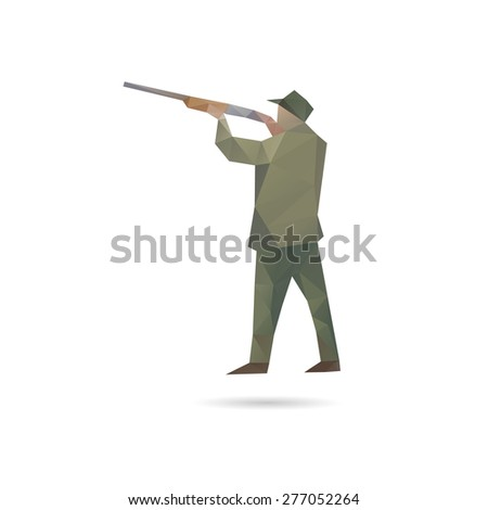 Hunter man silhouette abstract, vector illustration