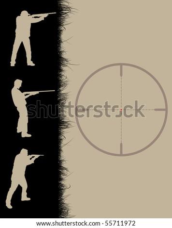 Hunter's frame with sniper sight, vector illustration - stock vector