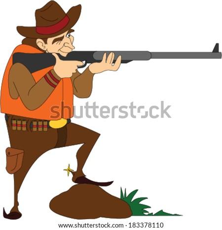 Hunter Shooting a Rifle - stock vector