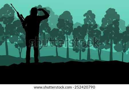 Hunter silhouette background landscape vector concept with forest - stock vector