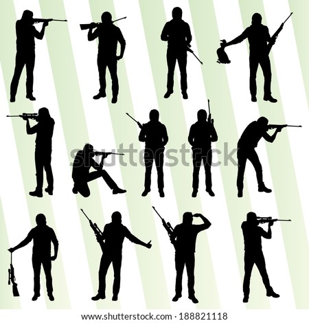 Hunter silhouette set vector background - stock vector