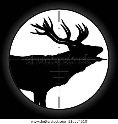Hunter sniper scope crosshair aiming elk - stock vector