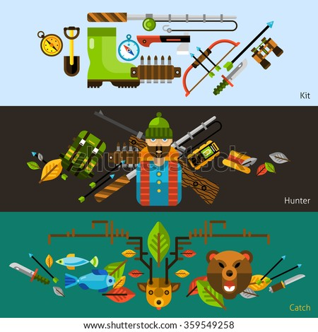 Hunting and fishing horizontal banners with animals and hunter equipments flat elements isolated vector illustration