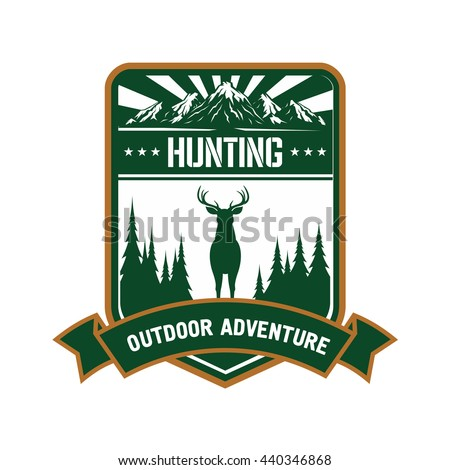 Hunting and outdoor adventure symbol of green silhouette of red deer with conifer trees on both sides, mountain peaks with sun rays and heraldic ribbon banner - stock vector