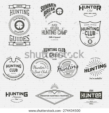 Hunting badges logos and labels for any use, on a white background - stock vector