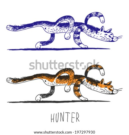 hunting cat, doodle illustration - stock vector