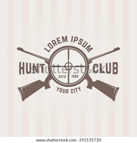 Hunting club isolated vector emblem template, two crossed hunting rifle and view optical sight - stock vector