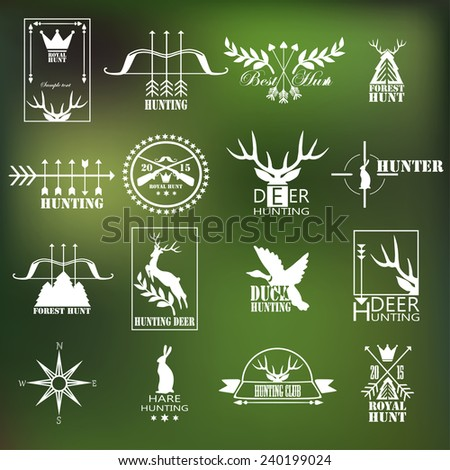 Hunting club label collection. Vector.  Elements and labels design. - stock vector
