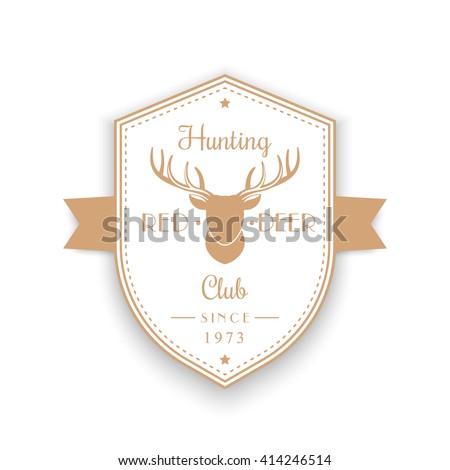 Hunting Club vintage emblem, badge, logo with deer head, shield shape logo on white, vector illustration - stock vector