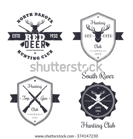 Hunting club vintage logo, badges, signs, emblems with crossed rifles, guns, deer head on white, vector illustration - stock vector