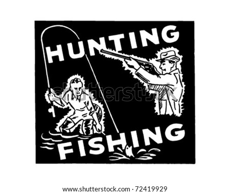 Hunting Fishing - Retro Ad Art Banner