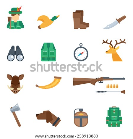 Hunting icons flat set with knife hunter duck boots binoculars isolated vector illustration - stock vector