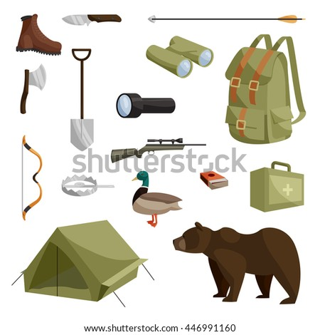 Hunting icons set in cartoon style isolated vector illustration