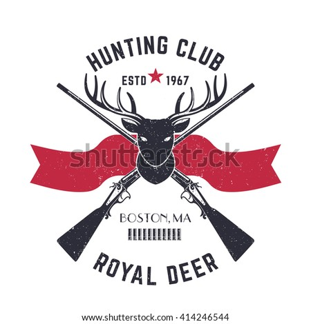 Hunting logo, vintage emblem with deer head and crossed hunting rifles, vector illustration - stock vector