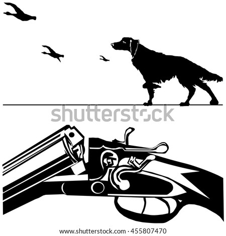 hunting rifle with dog duck black silhouette on the white background vector EPS10 - stock vector