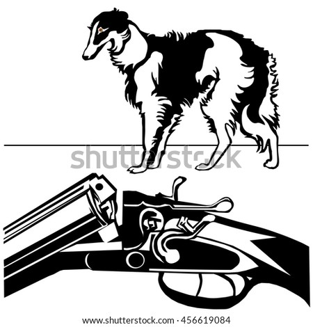 hunting rifle with dog greyhound black silhouette on the white background vector EPS10 - stock vector