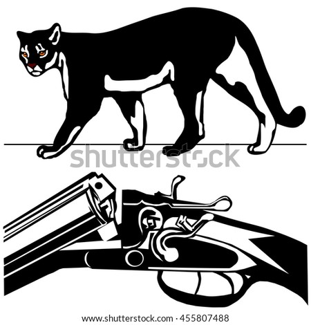 hunting rifle with wild cougar puma American mountain lion black silhouette on the 