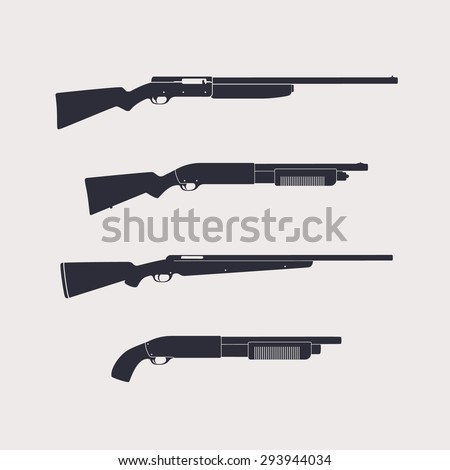 Hunting rifles, shotguns, carbine, isolated, vector illustration, eps10, easy to edit - stock vector