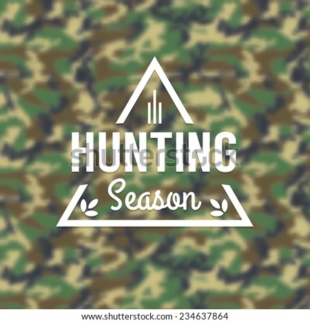 Hunting Season Insignia Logo on a Camouflage Background - Design Element Vector Illustration. - stock vector