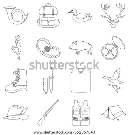 Hunting set icons in outline style. Big collection of hunting vector illustration symbol.