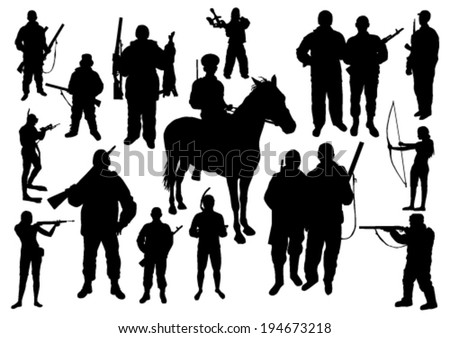 Hunting Silhouettes Set - stock vector